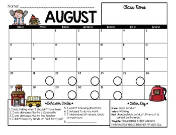 EDITABLE 2017-2018 Spanish & English Behavior Calendars