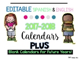 EDITABLE 2017-2018 Spanish & English Behavior Calendars