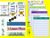 EDITABLE 2018-2019 Nature Themed Lesson Plans and Sub Binder