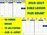 EDITABLE 2018-2019 Yellow and Navy Daisy Themed Lesson Plans and Sub Binder
