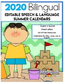 EDITABLE 2020 Bilingual Speech & Language Calendars - for