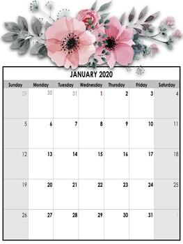 EDITABLE 2020 Flowery themed Calendar