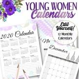 EDITABLE 2020 Young Women Calendar - INSTANT DOWNLOAD