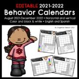 EDITABLE 2021-2022 Clip Chart Behavior Calendars