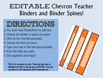 EDITABLE 21 Teacher Binder, Dividers, Planner and Binder Spine Chevron Design