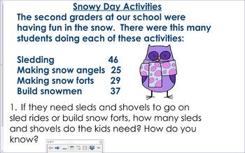 EDITABLE 2OA1 2NBT5 Snowy Day Activities Problem Solving