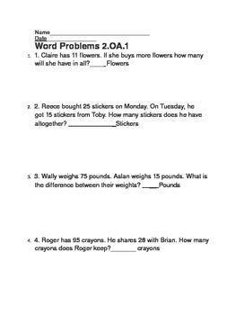 EDITABLE 2.OA.1 Quick Word Problem Assessment - Common Core Gr. 2