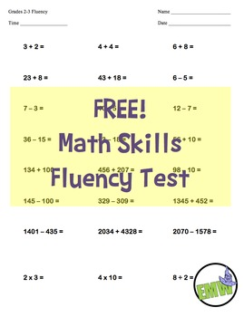 FREE!  2nd & 3rd Grade One Page Math Skills Fluency Test