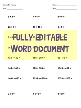 EDITABLE -  2nd & 3rd Grade One Page Math Skills Fluency Test