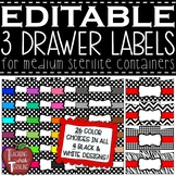 EDITABLE 3 Drawer Labels for Medium Sterilite Container Bins