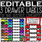 EDITABLE 3 Drawer Labels for Mini Sterilite Container Bins