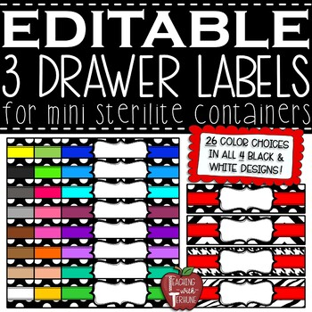 EDITABLE 3 Drawer Labels for Mini Sterilite Container Bins