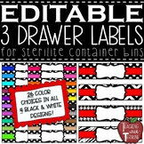 EDITABLE 3 Drawer Labels for Sterilite Container Bins