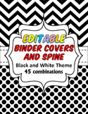 EDITABLE 45 Teacher Binder, Dividers, Planner and Binder Spine Black and White
