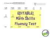 EDITABLE -  4th & 5th Grade One Page Math Skills Fluency Test