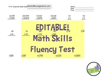 EDITABLE -  4th & 5th Grade One Page Math Skills Fluency Test