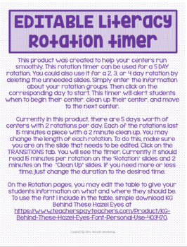 EDITABLE 5 Day Rotation Timer