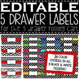 EDITABLE 5 Drawer Rolling Cart Labels