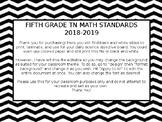 EDITABLE 5th Grade Math Standards TN 2018-2019