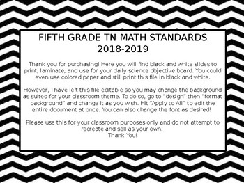 EDITABLE 5th Grade Math Standards TN 2018-2019