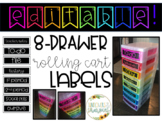 EDITABLE 8-Drawer Rolling Cart Labels!