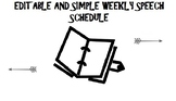 EDITABLE AND SIMPLE WEEKLY SPEECH SCHEDULE