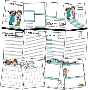 EDITABLE APRIL -FLIP BOOKS - MONTHLY NEWSLETTERS - CALENDARS - TO-DO-LISTS