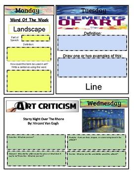 EDITABLE ART BELL RINGER - First Semester