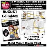 EDITABLE AUGUST -FLIP BOOKS - MONTHLY NEWSLETTERS - CALEND