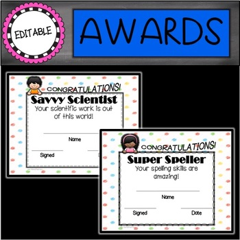 Kids End of the Year Editable Awards