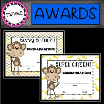 Monkey Editable End of the Year Awards