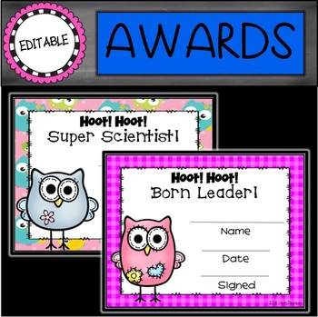 Editable Owls End of the Year Awards