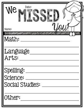 [EDITABLE] Absent Student Work Organizer