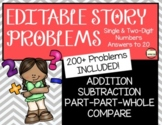 EDITABLE Addition/Subtraction Story Problems for the YEAR (Answers to 20)