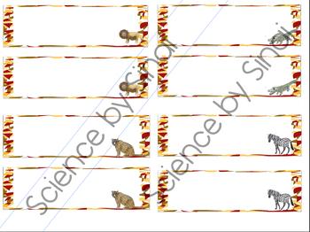 EDITABLE African Safari Animals Theme DESK CARDS NAME PLACE CARDS