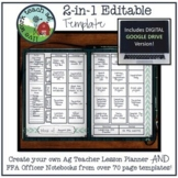 EDITABLE Agriculture Education Teacher Planner & FFA Officer Notebook Template