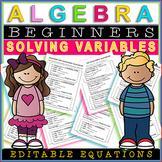 Algebra Worksheets EDITABLE / Fun Student Practice Assessments ⭐⭐⭐⭐ Solve for Y