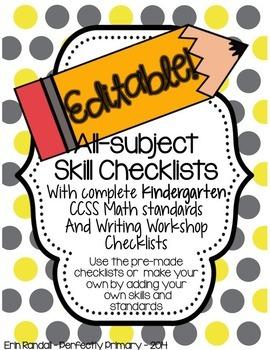 EDITABLE All-Skills Grading and Record Keeping Checklists (Kindergarten)