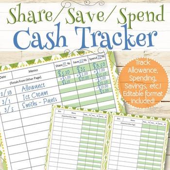 EDITABLE Allowance/Money Tracker - INSTANT DOWNLOAD