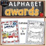 EDITABLE ❤️Alphabet Awards / Color& BW /  Worksheets