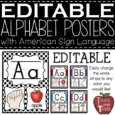 EDITABLE Alphabet Posters with American Sign Language {Bla