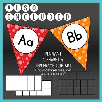 EDITABLE Alphabet and Ten Frame Posters in Bold Colors and Dots (Word Walls)
