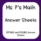 EDITABLE Answer Sheets - Task Cards, Assessments, and MORE