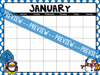 EDITABLE Any Year Student Calendars
