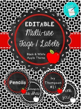 EDITABLE Apple Chalkboard Theme Circle Tags or Labels