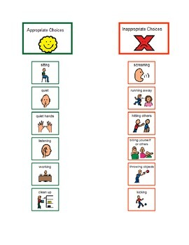 EDITABLE - Appropriate/Inappropriate Choices Chart - Students with AUTISM