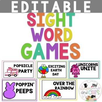 EDITABLE April sight word games for Kindergarten