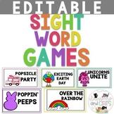 EDITABLE April sight word games for Kindergarten