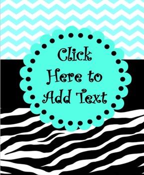 EDITABLE Aqua and Zebra Print Teacher Binder Covers