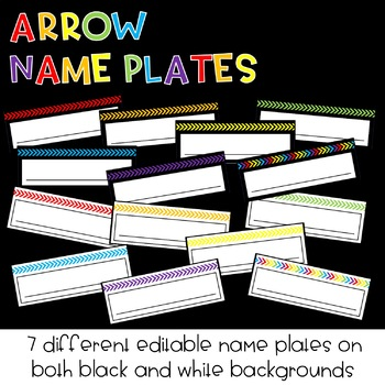 EDITABLE Arrow Name Plates : Classroom Decor
